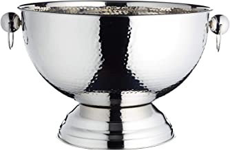 BarCraft Footed Metal Champagne Cooler/Punch Bowl, Stainless Steel, Silver, 37 x 37 x 25 cm