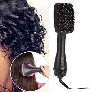 2 IN 1 Curler Hair Brush, Multifunktionell Professionell Hårtork och Styler 1W Hot and Cool Air Comb Straightener (EU)