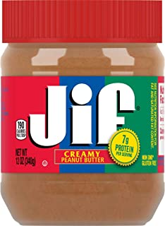 Jif Creamy Peanut Butter, 12 Ounces (Pack of 12), 7g (7% DV) of Protein per Serving, Smooth, Creamy Texture, No Stir Peanu...