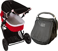 Zestaw osłony przeciwsłonecznej dla noworodka – SnoozeShade oryginalna (0-6 m) osłona przeciwsłoneczna do wózka (jasnoróżo...