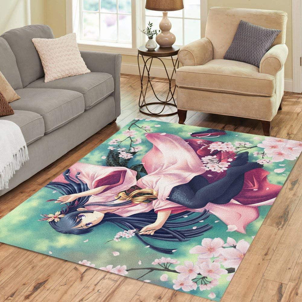 Pinbeam Area Rug Green Anime Kimono Girl Japanese Sakura Woman Autumn Home Decor Floor Rug 3 X 5 Carpet Kitchen Dining