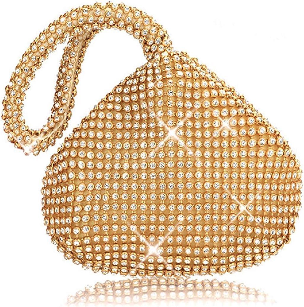 Vistatroy Women's Evening Bag Sparkly Rhinestone Purse Triangle Designer Chain Clutch Purse Bag Party Prom Wedding Purse