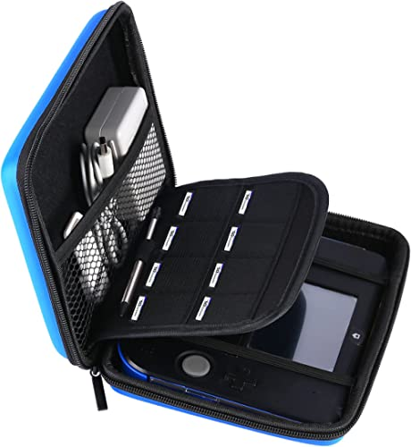 AKWOX Carrying Case for Nintendo 2DS with 8 Game Holders (Blue)