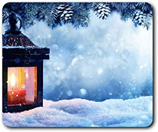Comfortable Mouse Mat - Christmas Lantern Candle Snow 23.5 x 19.6 cm (9.3 x 7.7 inches) for Computer & Laptop, Office, Gift, Non-Slip Base - RM12449
