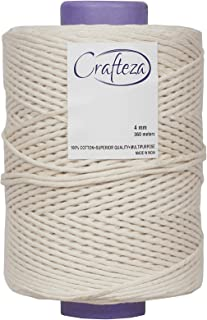 Macrame Cord 4mm X 360 mt (About 1181 ft) Single Strand Bulk Knotting Rope - Made of Natural Virgin Cotton Handmade Decora...