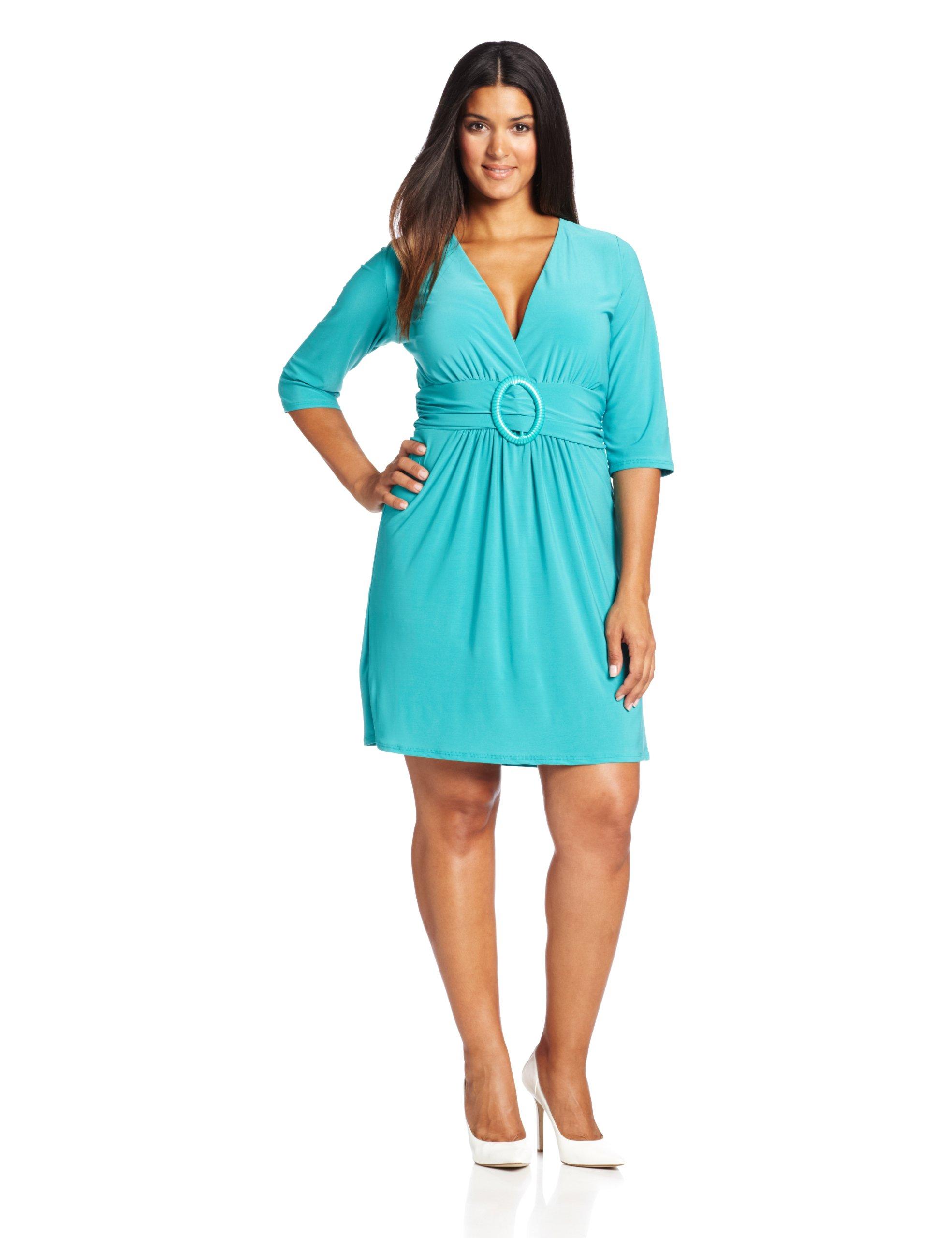 Available at Amazon: Star Vixen Women's Plus-Size Three-Quarter Sleeve Buckle-Detail Dress