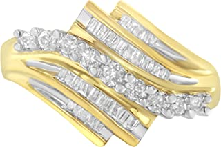 10K Yellow Gold Round and Baguette Diamond-Cut Ring (1/2 Cttw, I-J Color, I1-I2 Clarity)
