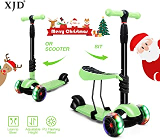 XJD Scooters for Kids Toddler Scooter with Removable Seat 3 Wheel Scooter for Boys Girls Adjustable Height PU Flashing Wheels Extra Wide Deck Scooter for Children from 2 to 8 Years Old