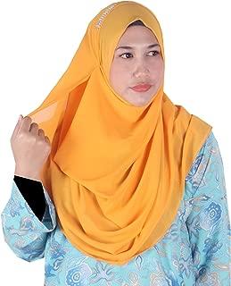 Womens Plain Orange Double Loop Instant Chiffon Hijab Scarf Ready to Wear