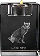 Kurilian Bobtail, Crystal Candlestick, Candle Holder with cat, Souvenir, Limited Edition