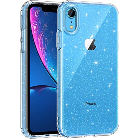 Lamcase for iPhone XR Case, Crystal Clear Bling Sparkly Glitter Shiny Soft Flexible TPU Slim Fit Drop Protection Rugged Shockproof Cover Case for Apple iPhone XR 6.1 inch (2018), Clear Glitter
