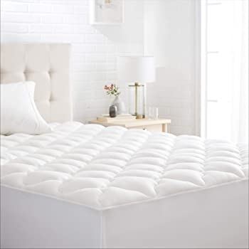 Amazon Basics Conscious Series Cool-Touch Rayon Bamboo Mattress Topper Pad - Queen