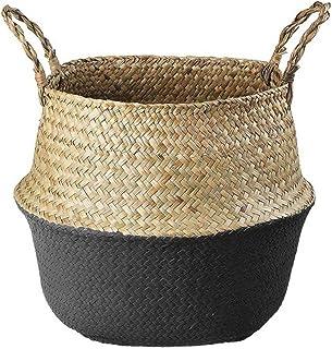 DFBGL Panier de Rangement en Osier Boîte de Rangement en rotin tissé, paniers de Pot de Fleur Suspendus Panier de Pot de M...