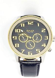 ساعة اوماكس للرجال - رياضية، ربع لتر، مينا اسود - سوار من الجلد - مقاومة للماء - Beeb1232