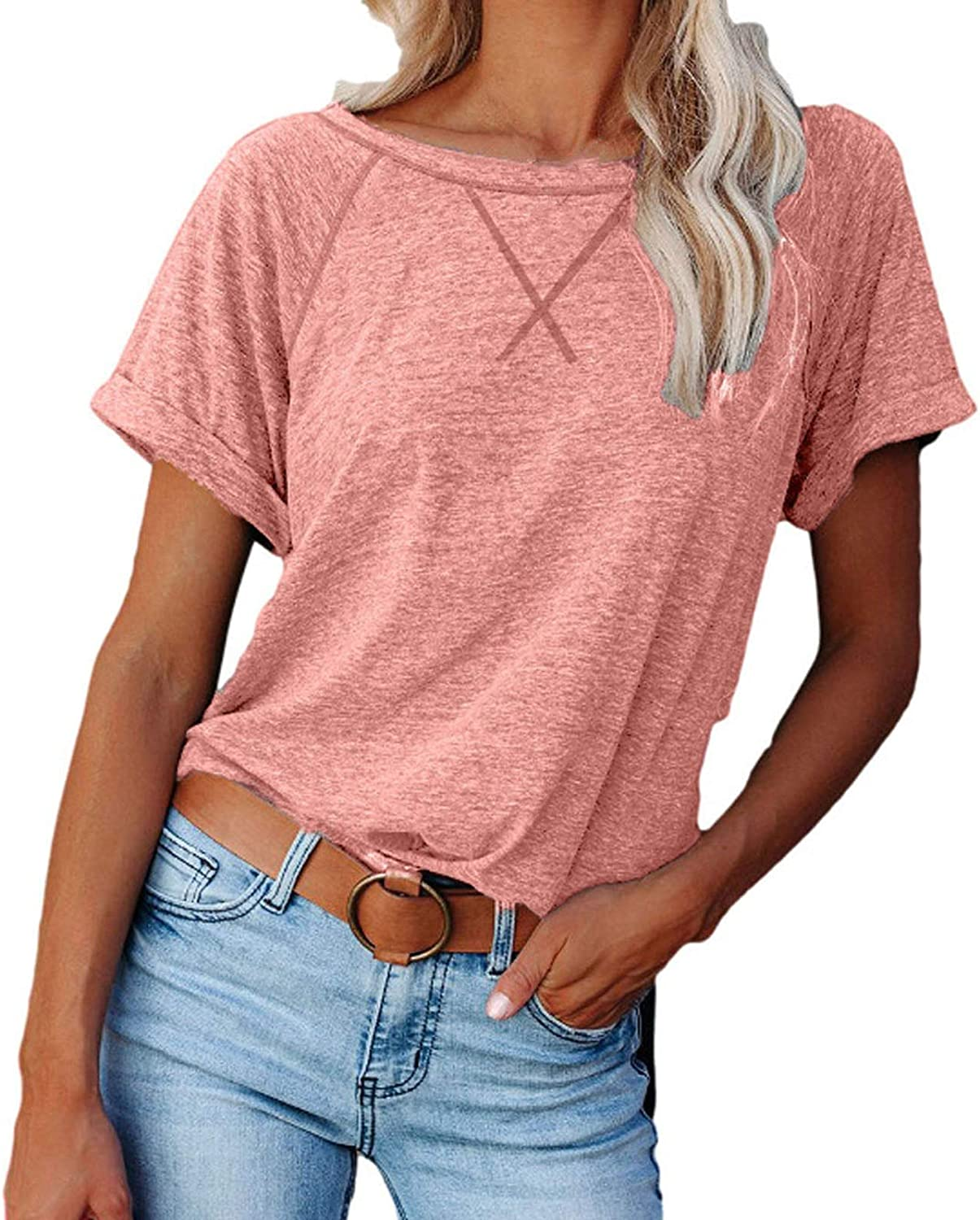 Women's Summer Solid Color Workout Tops and Blouses Round Collar Short Sleeve Basic T-Shirts Casual Comfy Wear to Work