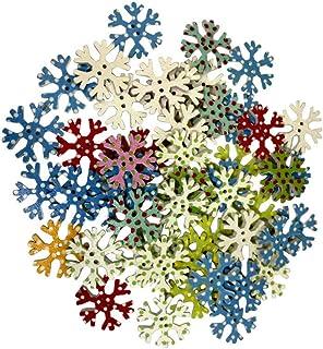 100 botões de floco de neve SUPVOX Decorativos 2 botões de madeira para scrapbook artesanato faça você mesmo 25 mm (colorido)