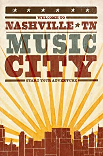 Nashville, Tennessee - Skyline and Sunburst Screenprint Style (9x12 Art Print, Wall Decor Travel Poster)