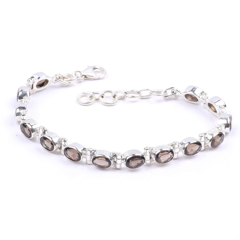 Handmade 925 Sterling Silver Smoky Ranking TOP1 specialty shop Gemstone Tennis Bracel Quartz