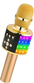 Best BONAOK Bluetooth Wireless Microphone with Controllable LED Lights, Portable Handheld Karaoke Speaker Machine Birthday Home Party for Android/iPhone/PC or All Smartphone Review