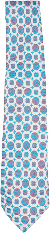 Kiton Napoli Men's Silk and Linen Circle X Pattern Necktie