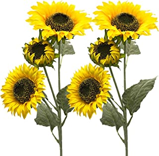Aisamco 3 Pack Artificial Sunflower Flocking Govine Artificial Flowers Fake Flowers 3 Stems in 30' Tall Floral Arrangement Tall Plant Stem Greenery Favor for Home Wedding Decoration