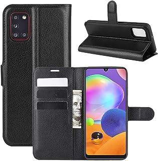 Capa Capinha Carteira De Couro Preta Para Galaxy A31 com Tela de 6.4 Polegadas Flip Magnética com Suporte e Slot para Cart...
