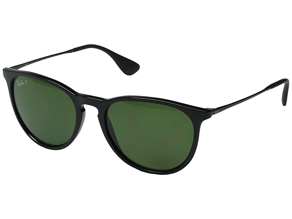 Ray-Ban Erika RB4171 Polarized (Black/Black/Green) Plastic Frame Fashion Sunglasses