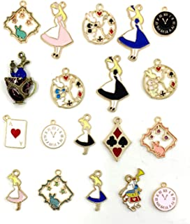 JIALEEY 19PCS Assorted Gold Plated Enamel Alice in Wonderland Wreath Charm Pendant DIY for Necklace Bracelet Jewelry Making and Crafting