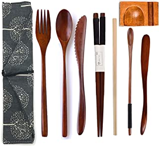 Cennsa Wooden Cutlery Set Portable, Reusable Wooden Bamboo Travel Cutlery Utensils Set with Case, 9 Pcs Wooden Flatware Including Reusable Knife Fork Spoon Chopsticks Straws & Cleaning Brush