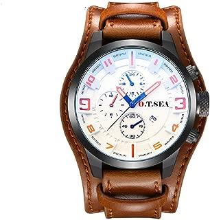 Leather Watch Men Military Sports Quartz Wristwatch with Date P-1032B