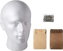 Styrofoam Wig Head with Wig Accessories – One Male Styrofoam Mannequin Head with 12 Wig Caps and 50 Wig Pins – Wig Supplies Set