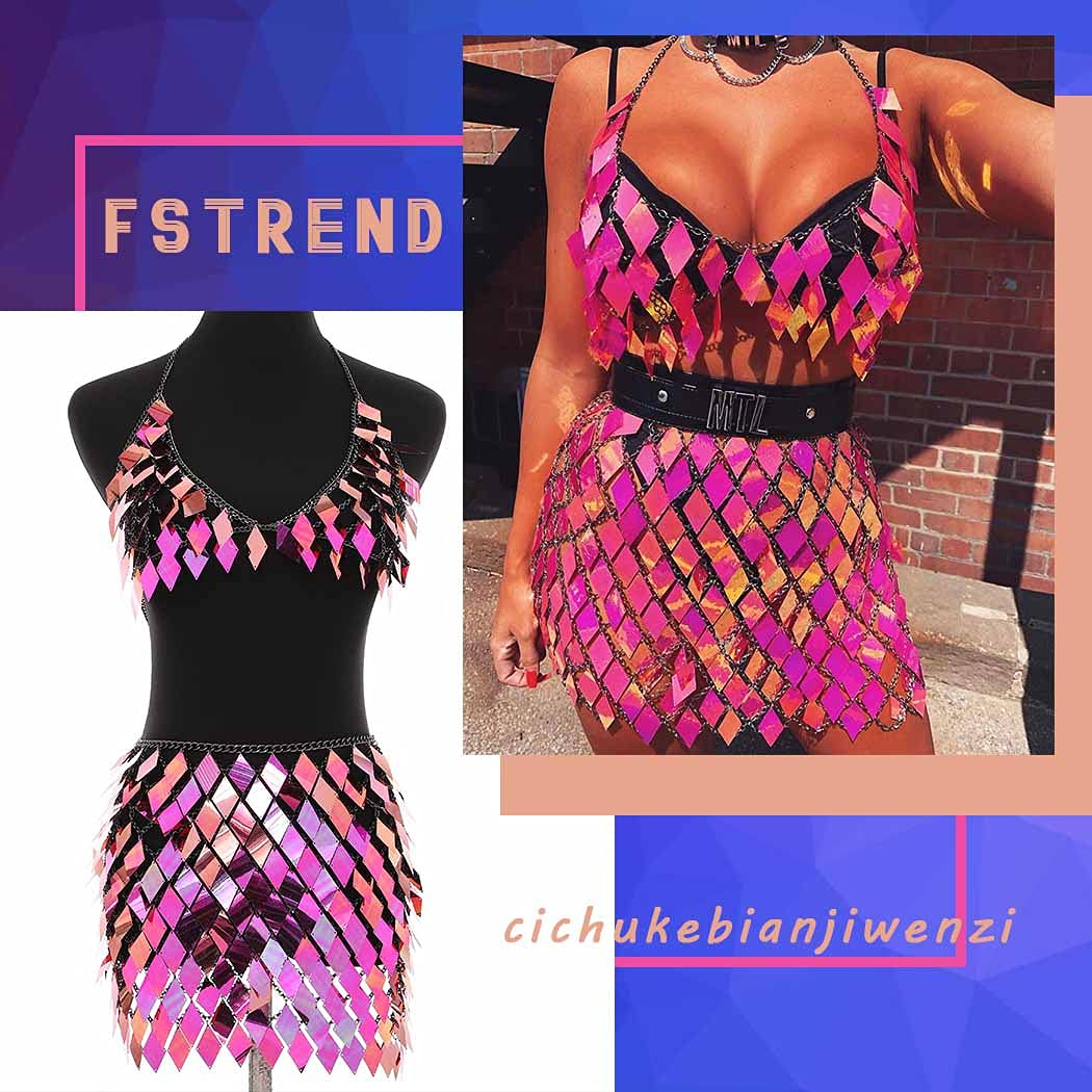 Fstrend Boho Sequins Tassels Body Chain Bra Skirts Set Sexy Bikini Outfits Rave Festival Party Beach Clubwear Jewelry for Women and Girls (Rose red)