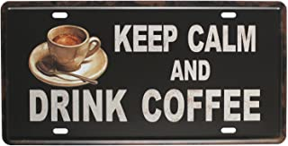 SUMIK Keep Calm and Drink Coffee, Metal Tin Sign, Vintage Art Poster Plaque Kitchen Cafe Home Wall Decor