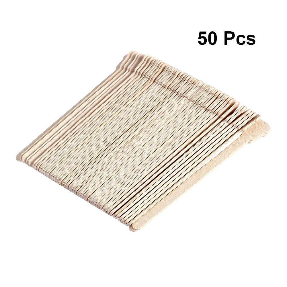レパートリー生命体解任SUPVOX 50本木製ワックススティックフェイス眉毛ワックスへら脱毛用(オリジナル木製カラー)