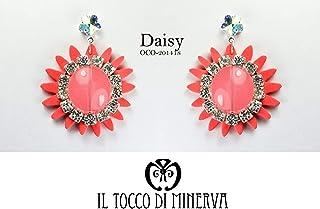 Orecchini Corallo fiore cristallo swarovski Daisy - Realizzati a Mano - Made in Italy-HandaMade-Regali ragazza-Artigianale...