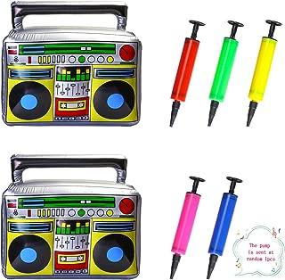 """Beelittle 16 """"/ 20"""" Party Inflatable Boom Box PVC Radio Accesorios inflables 80s 90s Decoraciones de Fiesta con Bomba de inflado de Aire (2 de Gran tamaño)"""