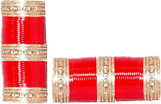 Engagement & Wedding 2.4 S Bollywood Bangles Bracelet Indian Punjabi Bridal Jewellery Chura Red D8 Year-End Bargain Sale