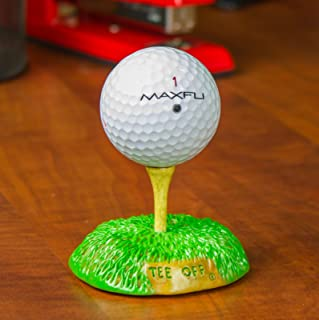 Golf Expressions Carved Tee Off Golf Ball Display Stand - Desktop Display of Hole-In-One, Logo, or Collectible Ball, Perfect for Fathers Day or Prizes for Company Golf Tournaments and Outings.