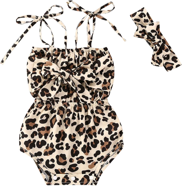 Fascia Carolilly 2 Pezzi Completo Bambina Pagliaccetto Neonata Costume Intero Ragazza Bimba senza Maniche Allacciato Body Stampa Leopardo Body 0-2 anni