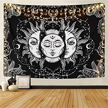 DYRCJ Tarot Tapisserie Soleil Et Lune Psychédélique Tapisserie Noir Céleste Tenture Murale Tapisserie Murale Indien Mandala B