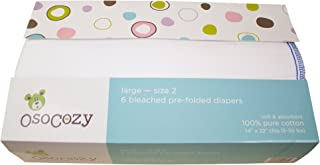OsoCozy 6 Pack Prefolds Bleached Cloth Diapers, Size 2 fits 15-30 lbs.