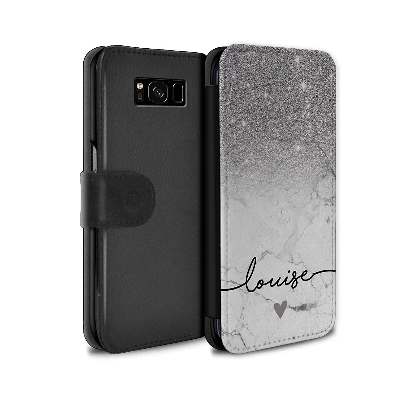 Personalized Custom Handwriting Glitter Ombre PU Leather Case for Samsung Galaxy S8 Plus/G955 / Silver Sparkle White Marble Design/Initial/Name/Text DIY Wallet/Cover