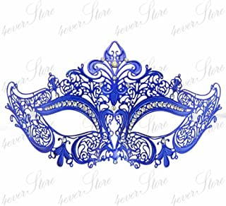 Luxury Collection Metal Laser Cut Venetian Masquerade Mask - Made of Light Metal (Royal Blue)
