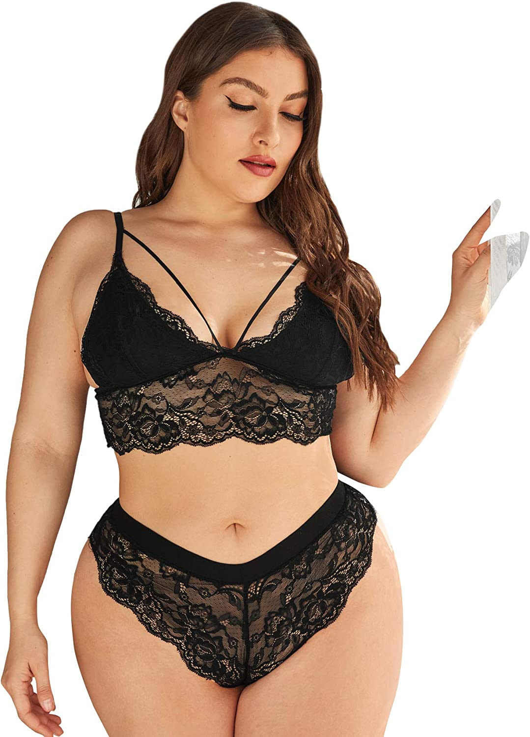 SheIn Women's Plus Size 2 Piece Sheer Mesh Lingerie Set Floral Lace Bra and Panty