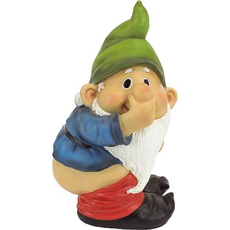 Design Toscano QM2432400 Garden Gnome Statue - Stinky Jardin Gnome - Méchant Gnomes - Mooning Gnomes Statues