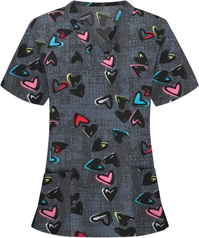 Women's Short Sleeve T-Shirt Casual Heart Print V-Neck Pockets Tops Working Uniform Holiday T-Shirt Blouse