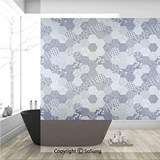 3D Decorative Privacy Window Films,Octagon Patchwork Style Pattern Image with Dots Stars Squares Stripes,No-Glue Self Static Cling Glass Film for Home Bedroom Bathroom Kitchen Office 36x36 Inch