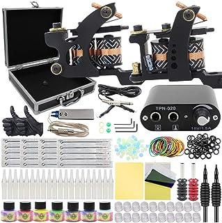 Complete Tattoo Kit - Rayyl Coil Tattoo Kit Machine 2 stuks Tattoo Machines Mini Tattoo Voeding Oefenhuid 7 Kleuren Inkt T...
