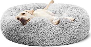 Plush Donut Calming Dog Bed Anti-Anxiety Pet Cuddler Beds Washable,Non-Slip,Light Grey,27.6''