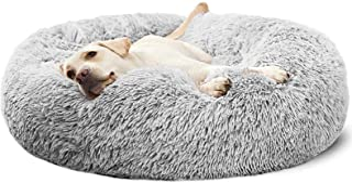 Pet Calming Bed,Soft Plush Donut Round Cuddler Cushion for Dog Cat,Washable,Non-Slip Waterproof Bottom L-Diameter 60CM/23....